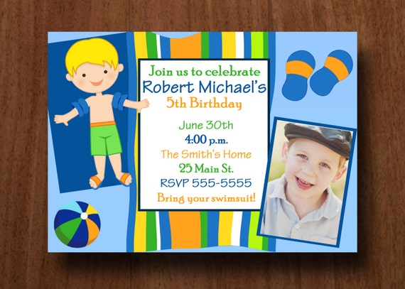 Boy Pool Party Birthday Invitation with Photo (Printable )Digital File
