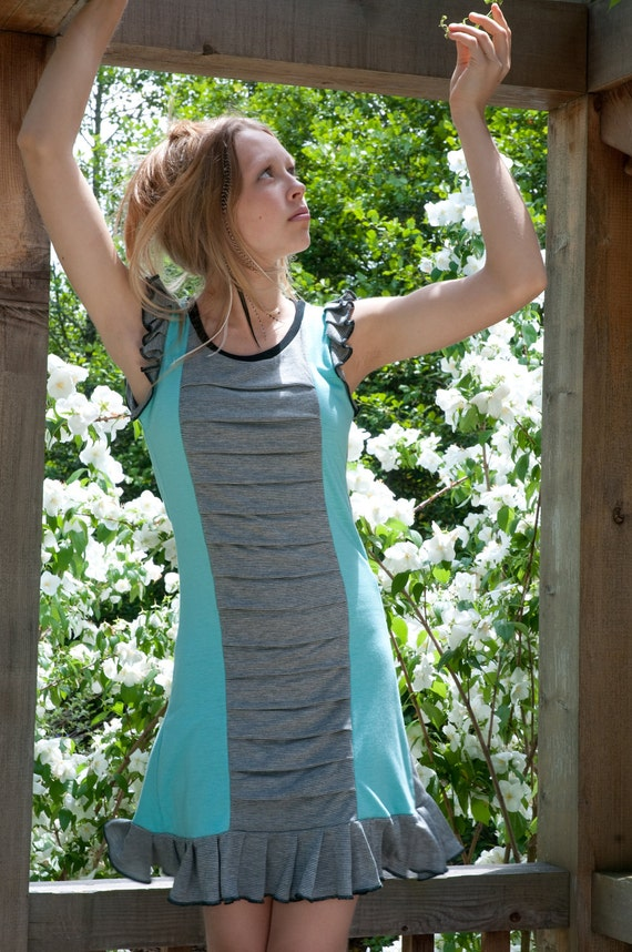 Baby blue with black and grey skinny stripes Tsunami Dress