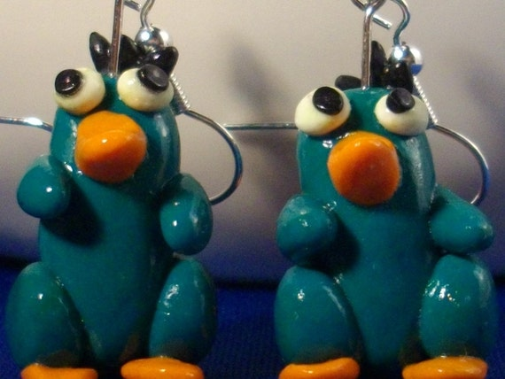 Perry the Platypus Earrings from Phineas and Ferb