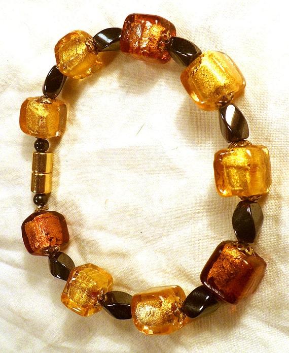 Amber Chunky Murano foil bead Magnetic Healing bracelet