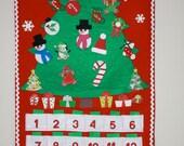 Handmade Felt Christmas Advent Countdown Calendar with Ornaments