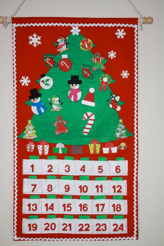 Handmade Felt Christmas Advent Countdown Calendar with Ornaments