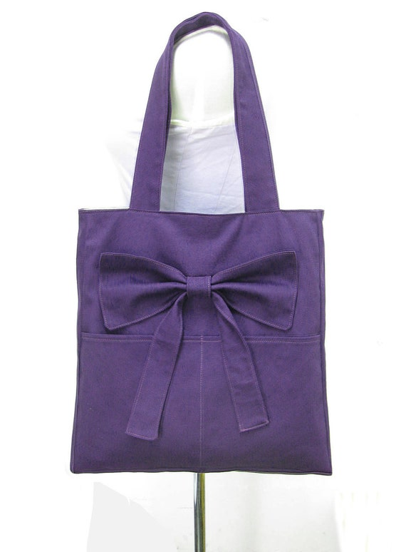 purple tote bag shoulder bag diaper bag cotton by markfabric. Black Bedroom Furniture Sets. Home Design Ideas