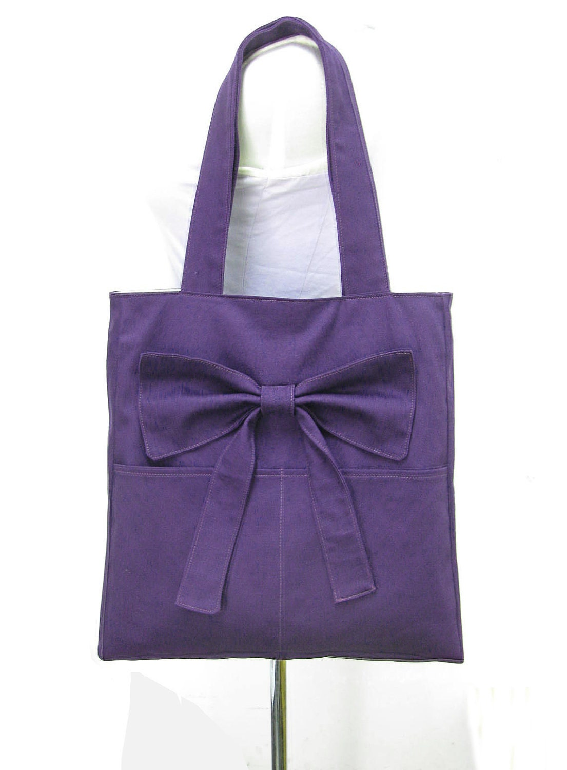 purple tote bag shoulder bag diaper bag cotton by. Black Bedroom Furniture Sets. Home Design Ideas