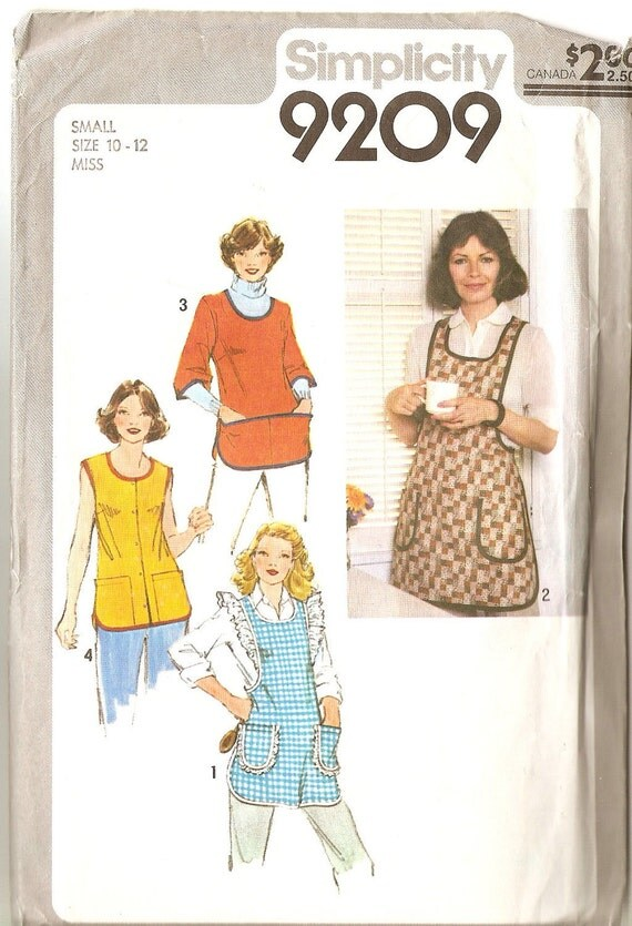 Vintage Apron Sewing Pattern Simplicity 9209 Size Small 10