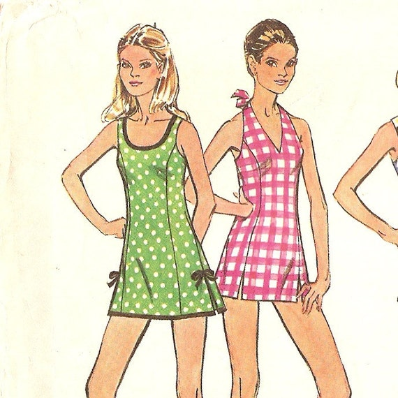 """1970s Halter or Scoop Neck Swimsuit  Pattern Mini Dress Pattern Bust 34"""" size 12, Simplicity 5696 complete Vintage Sewing Pattern"""