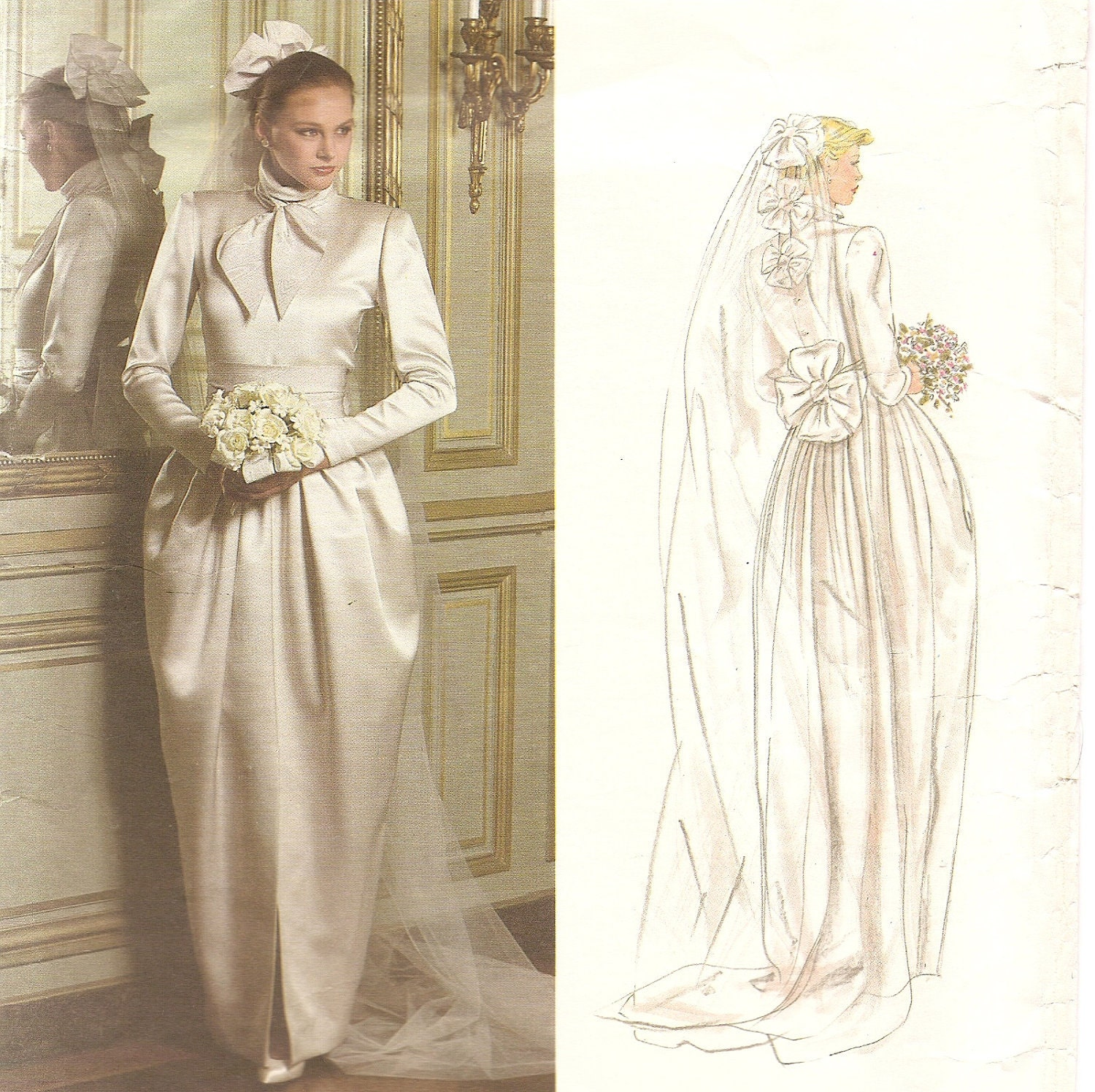 Vintage vogue wedding gown pattern christian dior designer for Wedding dress patterns vintage