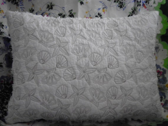 quilted SEASHELL pillow with vintage chenille SWEET white on white Very SHABBY