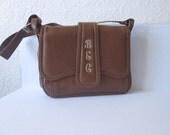 SALE 35% OFF// vintage 1970s BEC// brown embroidered monogram lettered purse