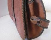 SALE 35% OFF//vintage 1950s //western handtooled purse