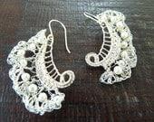 Sterling Silver Leaf crochet earrings