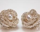 Sterling Silver Lace Crochet Rose earrings