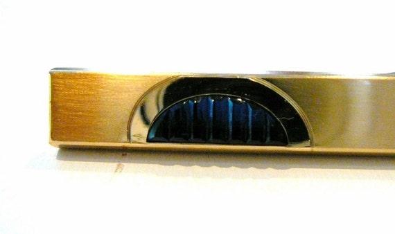 Gold Filled 12k Tie Bar Clip Blue Sapphire Glass signed Kreisler Quality Vintage