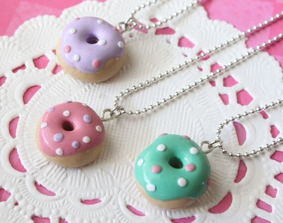 Kawaii Donut Necklace CHOOSE YOUR COLOR Miniature Food Jewelry