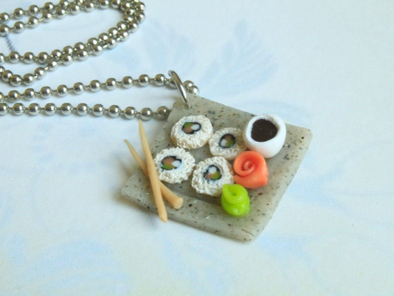 Sushi Necklace - Miniature Food Jewelry