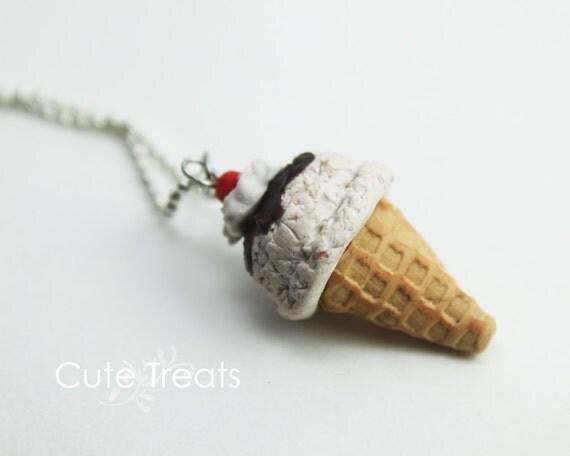 Cookies and Cream Ice Cream Cone Necklace