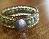 """The """"Tranquility"""" Beaded Leather Cuff"""