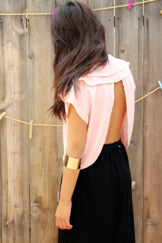 Dainty Peach Cut Off Blouse