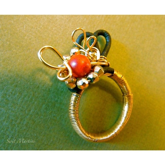 Red Berries  Red Coral Pyrite Leather Ring