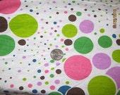 Beautiful Fun Dots on Off White Knit fabric