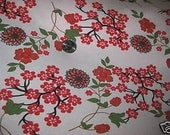 Gorgeous Asian Red Cherry Blossom on White   Knit Fabric