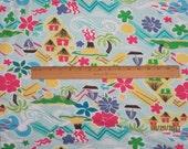 Tropical Island Paradise with  Tiki Huts & Fish Knit FAbric