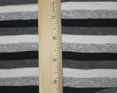 Goth Punk Neutral Black White Heather Grey & Charcoal Grey Cotton Lycra Stripe Knit