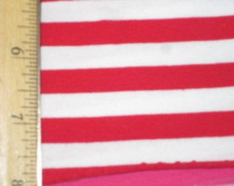 "3/8"" Red & White Cotton Lycra Stripe Knit Fabric"