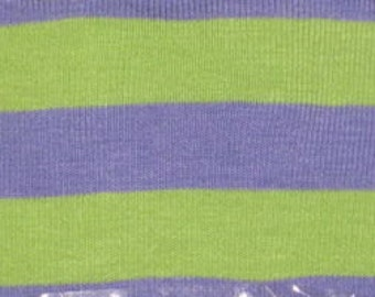 "Purple & Green  3/8"" cotton Lycra Stripe Knit Fabric"