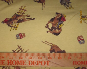 Rodeo Rider on Sage Green Rib Cotton Knit Fabric