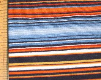 Summer Blues & Orange Boy Stripes knit fabric