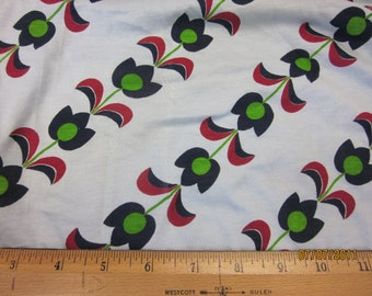 Pretty Diagonal Modern Tulips on Dusty Blue Cotton Jersey knit fabric