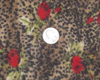 Small Print Cheetah Rose Wool Jersey knit fabric