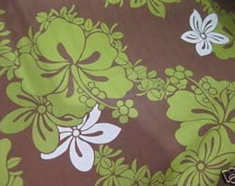 Boutique Green White Brown Hawaiian Hibiscus Woven