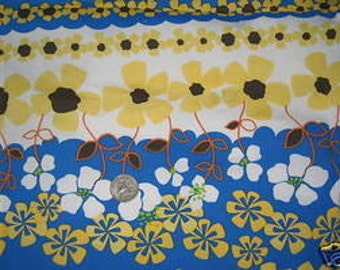 Pretty Blue and Yellow Stretch Cotton Woven