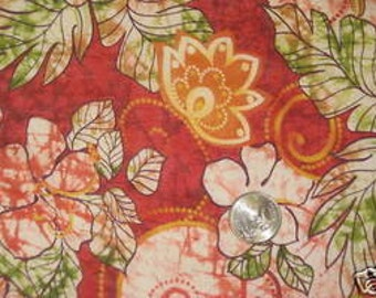 Jamican reds Floral Jersey. Cotton jersey