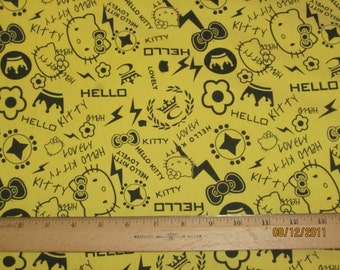 Cute Kitty Yellow Punk Graffiti Cotton Knit FAbric
