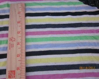 """Eclectic 3/8"""" wide Rainbow Stripes Knit Fabric"""