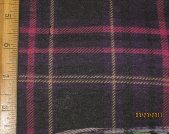 Purple, hot Pink,Yellow,Black Plaid Knit Fabric
