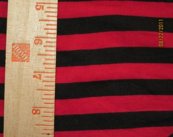"3/8"" Black & Red goth diy punk Cotton Lycra Stripe Knit"