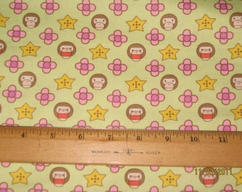 Cute Monkey and Icons on Light Green Cotton Woven Fabric Import
