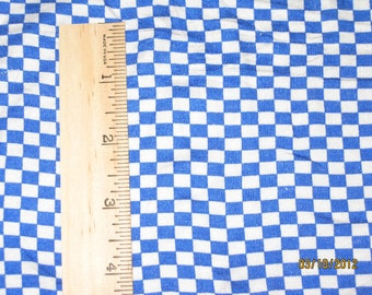 Small Royal Blue and White Checkerboard Stretch Knit Fabric