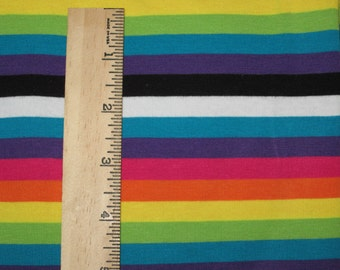 "Alchemy Rainbow apx. 3/8"" Cotton lycra Stripe Knit Fabric"