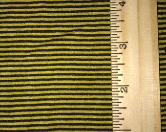 "Black and Chartreuse Yellow  Narrow Pinstripe apx 1/16"" stripe knit FAbric"