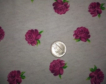 Dainty Rosette Roses on White Cotton Jersey Knit Fabric