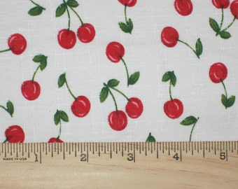 Little Red Cherries on White Cotton BAby Rib Jersey