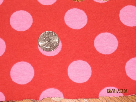 Awesome Euro Pink French Polka Dot on Red Cotton Interlock Knit Fabric