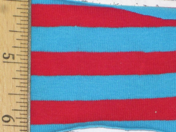 "Red & Turquoise Blue  3/8"" cotton Lycra Stripe Knit Fabric"
