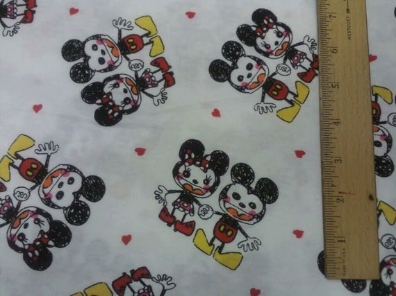 Import.  Vintage Mickey Cotton Knit Fabric