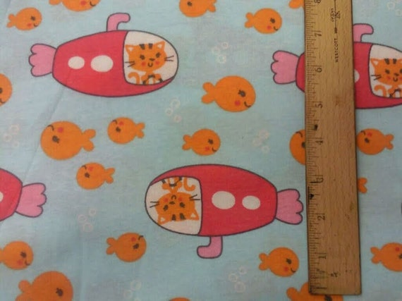 Import.  Cute Goldfish & the Cat in the Submarine Knit Fabric